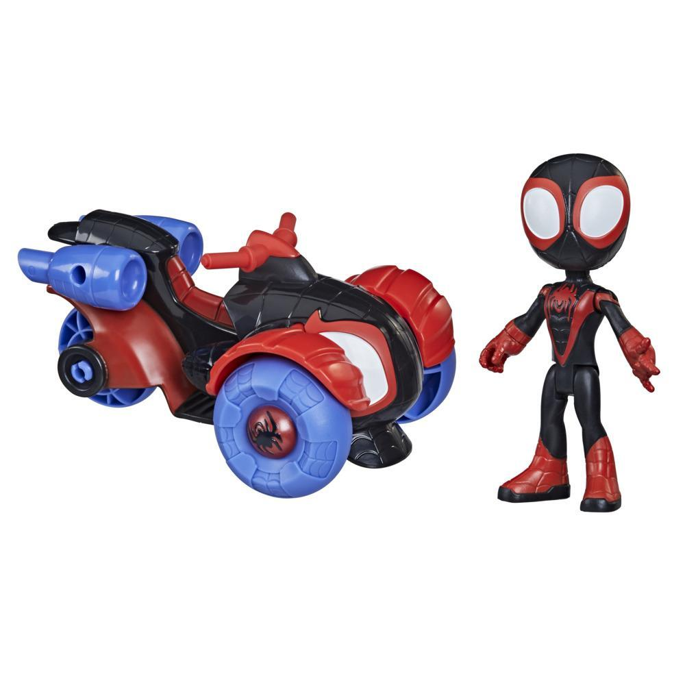 Marvel Spidey and His Amazing Friends Miles Morales Action Figure And Techno-Racer Vehicle, For Kids Ages 3 And Up