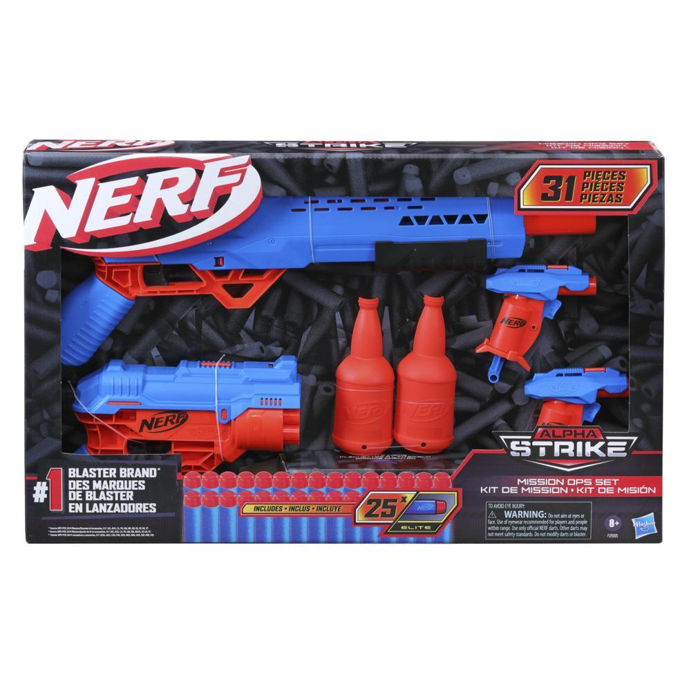 Nerf Alpha Strike Mission Ops Set Includes 4 Blasters, 2 Half-Targets, and 25 Nerf Elite Darts -- Easy Load Prime Fire