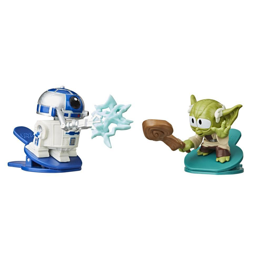 Star Wars Battle Bobblers R2-D2 Vs Yoda Clippable Battling Action Figure 2-Pack, Bobbling Toys for Kids Ages 4 and Up