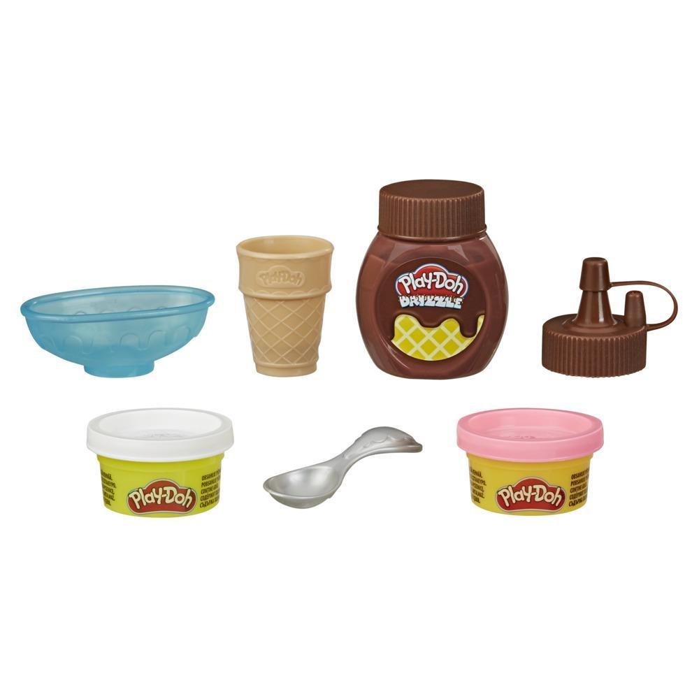Play-Doh Kitchen Creations Mini Drizzle Ice Cream Playset with Play-Doh Drizzle Compound and 2 Classic Colors, Non-Toxic
