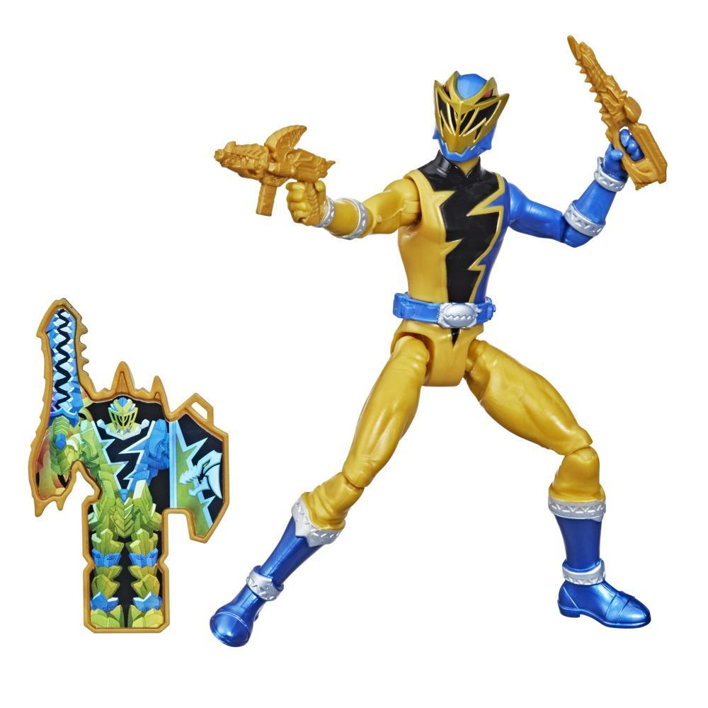Power Rangers Dino Fury Gold Ranger 6-Inch Action Figure Toy Inspired by TV Show with Dino Fury Key and Dino-Themed Accessory