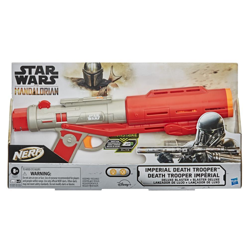 Nerf Star Wars Imperial Death Trooper Deluxe Dart Blaster, The Mandalorian, Lights, Sounds, Glow-in-the-Dark Nerf Darts