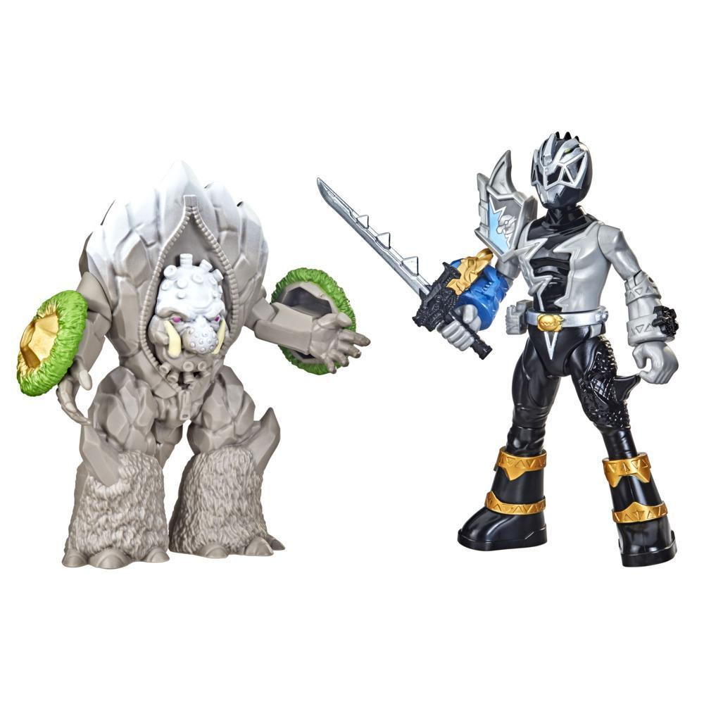 Power Rangers Dino Fury Battle Attackers 2-Pack Black Ranger vs. Smashstone Kicking Action Figure Toys For Ages 4 and Up