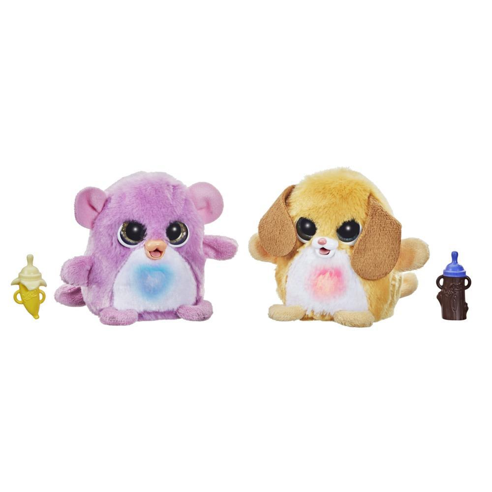 furReal Fuzzalots Puppy and Monkey Color Change Interactive Feeding Toy, Lights and Sounds, Ages 4 and up
