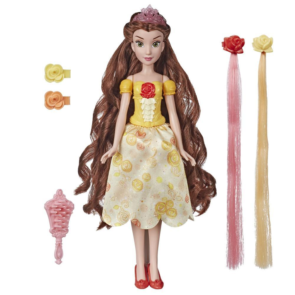 Disney Princess Hair Style Creations Belle Fashion Doll, Hair Styling Toy with Brush, Hair Clips and Hair Extensions