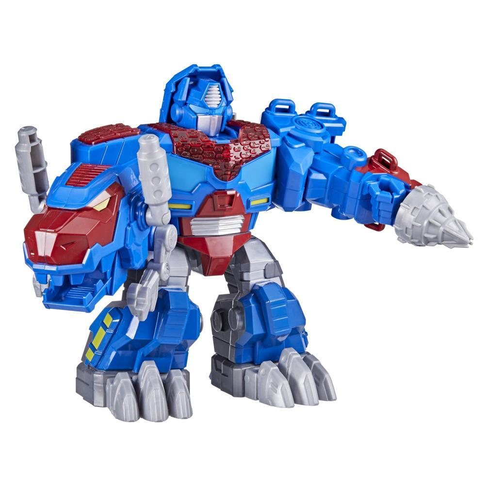 Transformers Dinobot Adventures Optimus Prime T-Rex with Lights and Sounds, 9+-inch Toy, Ages 3 and Up