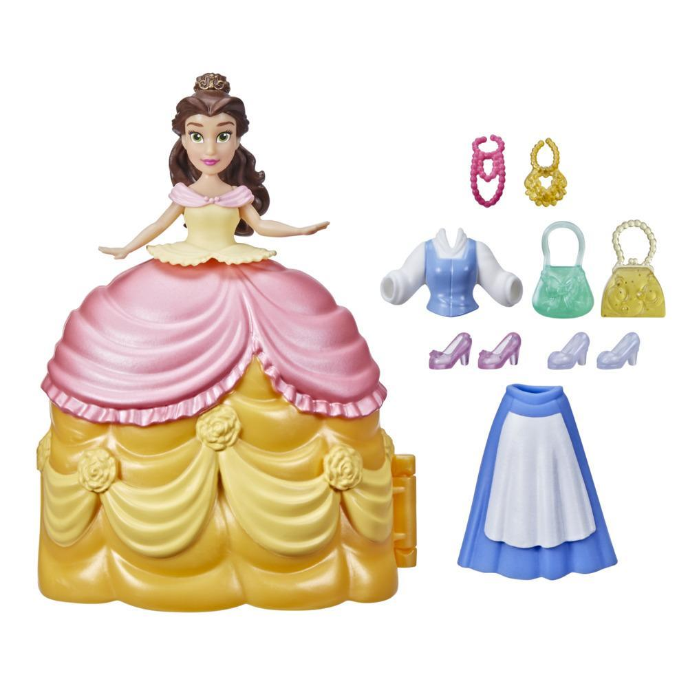Disney Princess Secret Styles Fashion Surprise Belle, Mini Doll Playset with Clothes and Extras, Toy for Girls 4 and Up