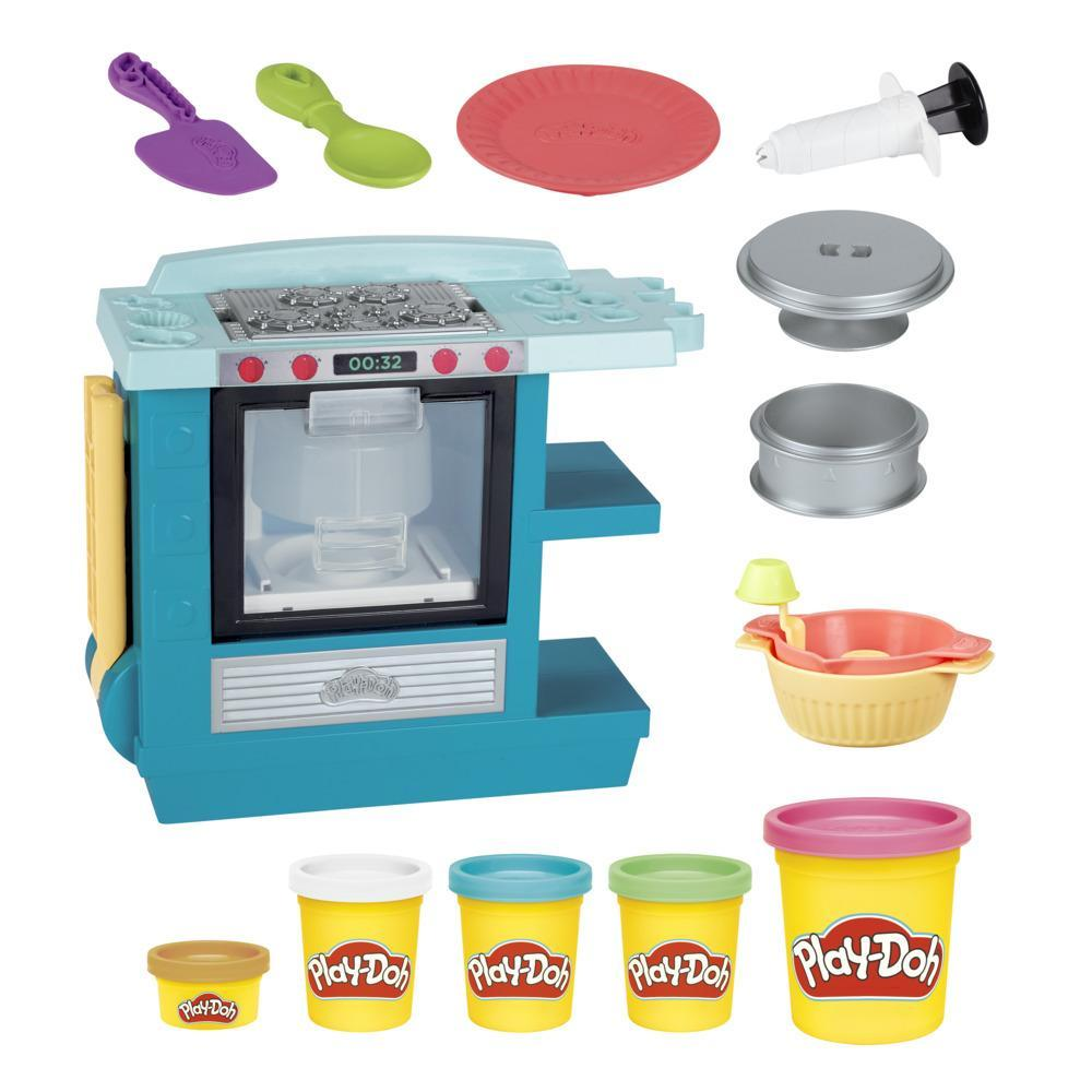 Play-Doh Kitchen Creations Rising Cake Oven Playset for Kids 3 Years and Up with 5 Cans, Non-Toxic