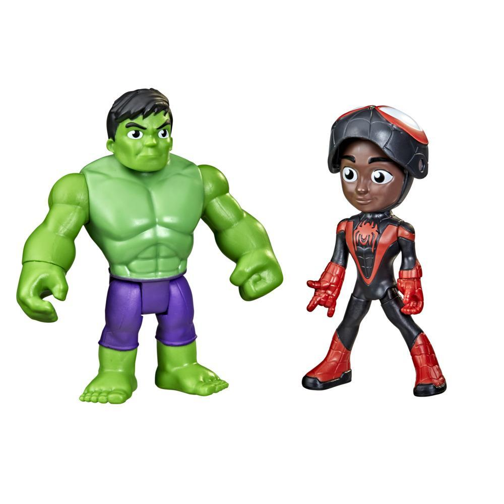 Marvel Spidey and His Amazing Friends Hero Reveal Figure 2-Pack, Mask Flip Feature, Miles Morales: Spider-Man and Hulk, 3 And Up