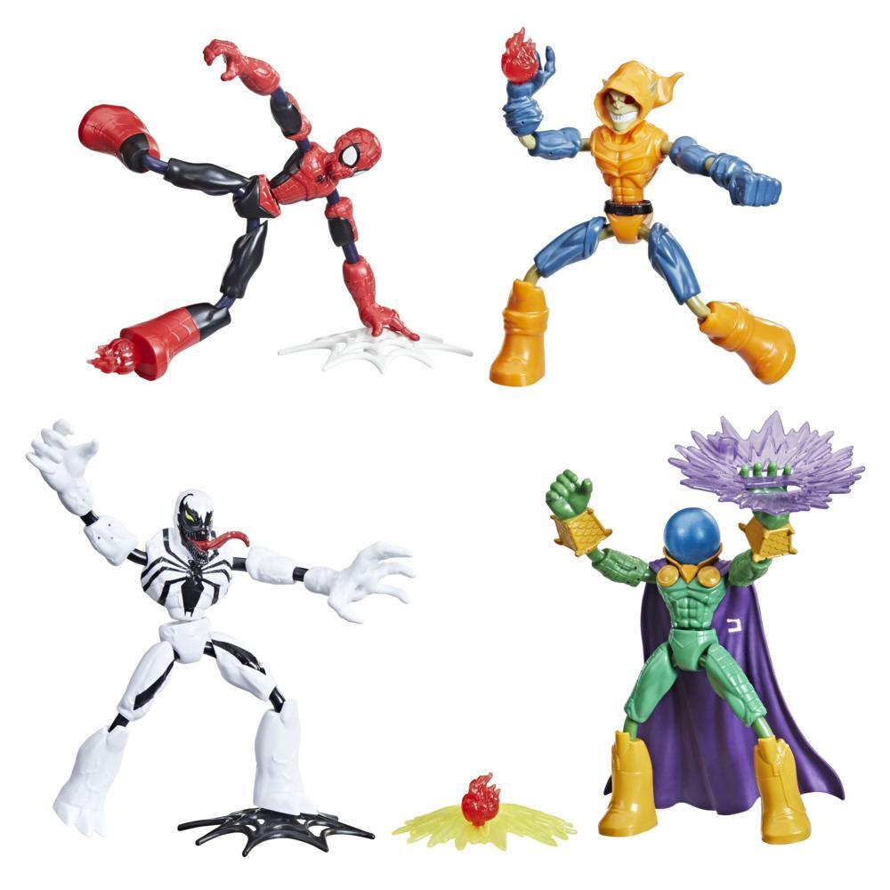 Marvel Spider-Man Bend and Flex Figure 4-Pack, Spider-Man and Anti-Venom Vs. Marvel's Mysterio and Hobgoblin, Ages 4 And Up