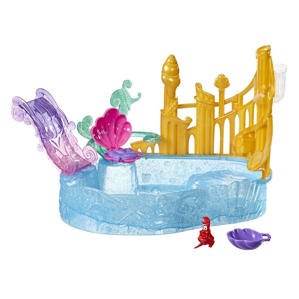 Disney Princess Sparkling Lagoon Playset with Slide and Seashell Seat, Inspired by The Little Mermaid, Toy for 3 Year Olds and Up