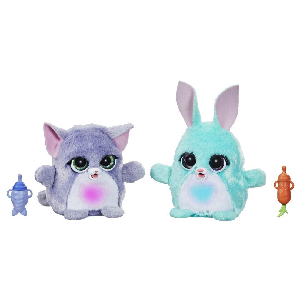 furReal Fuzzalots Kitty and Bunny Color Change Interactive Feeding Toy, Lights and Sounds, Ages 4 and up