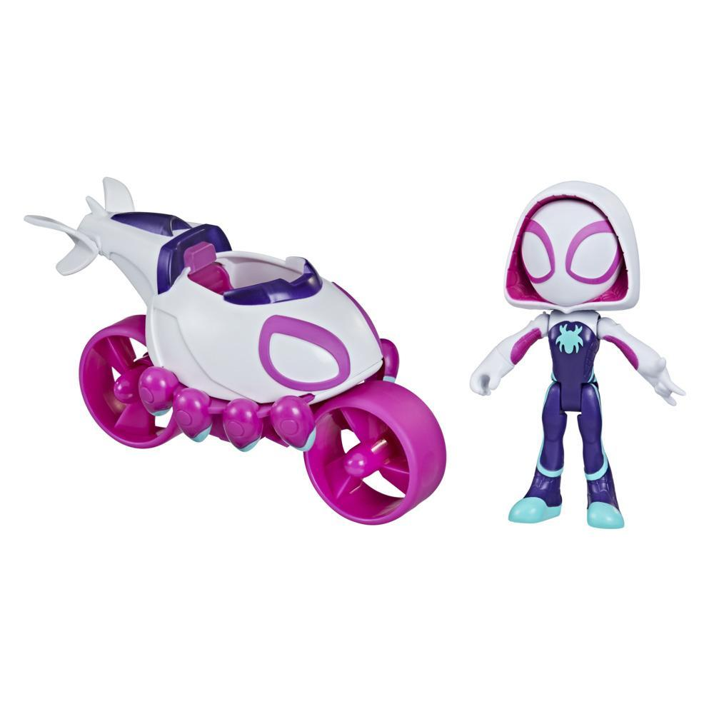 Marvel Spidey and His Amazing Friends Ghost-Spider Action Figure And Copter-Cycle Vehicle, For Kids Ages 3 And Up