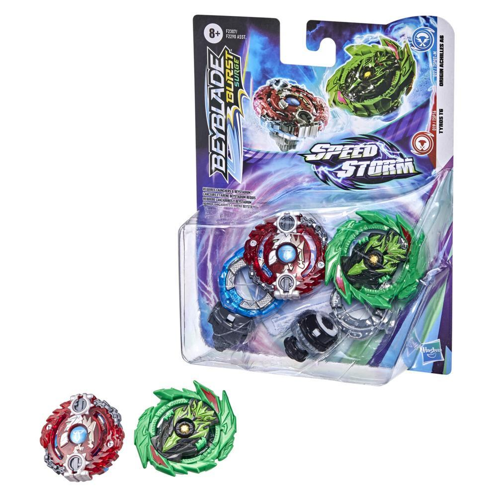 Beyblade Burst Surge Speedstorm Origin Achilles A6 and Tyros T6 Spinning Top Dual Pack -- Battling Game Top Toy