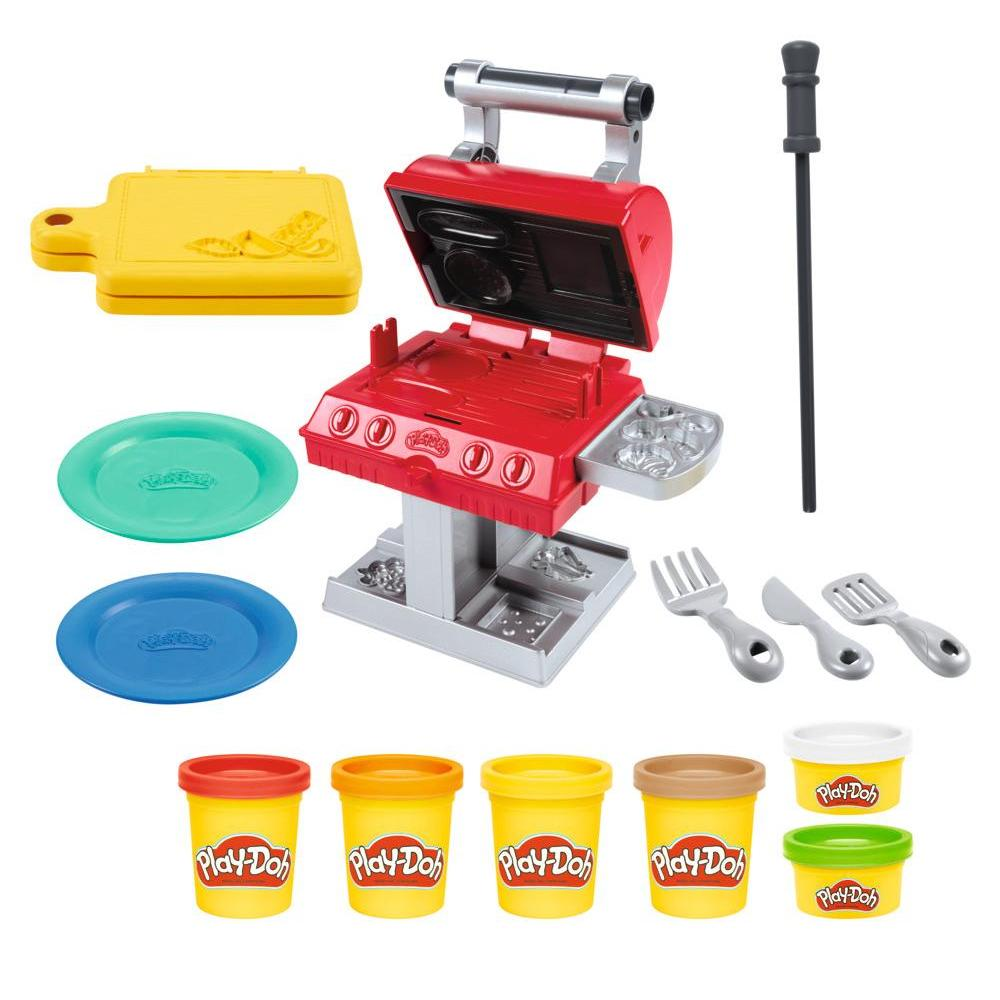 Play-Doh Kitchen Creations Grill 'n Stamp Playset for Kids 3 Years and Up with 6 Non-Toxic Colors