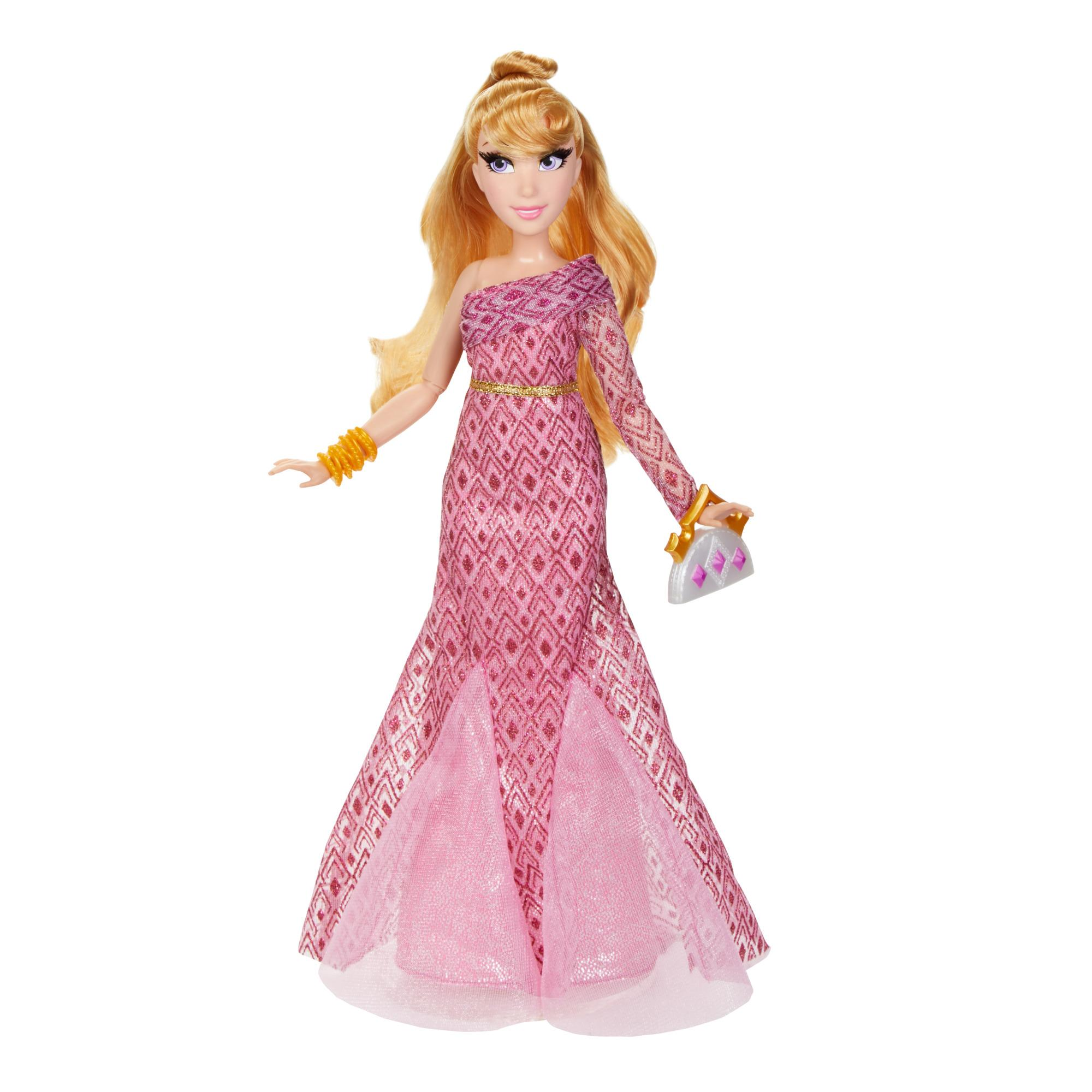 Disney Princess Style Series Aurora Fashion Doll, Contemporary Style Dress with Purse and Shoes, Toy for Girls