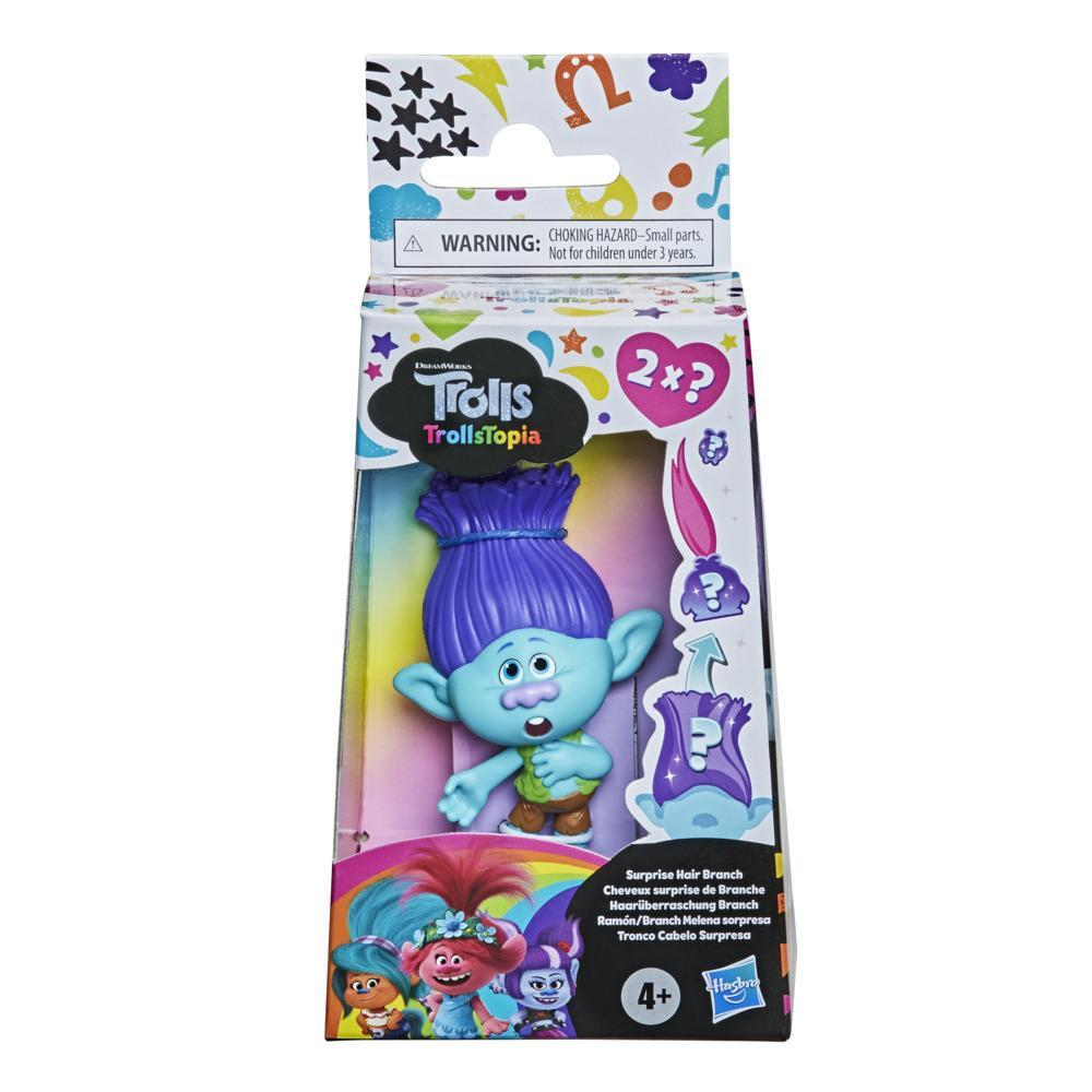 DreamWorks TrollsTopia Surprise Hair Branch Collectible Doll, Trolls Toy with 2 Hidden Surprise Critters in Hair