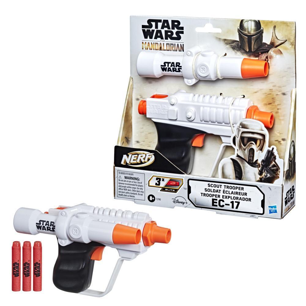 Nerf Star Wars Scout Trooper EC-17 Blaster, The Mandalorian, Reticle Scope, 3 Official Nerf Elite Darts, 2-Dart Storage
