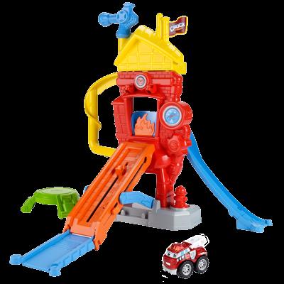 TONKA CHUCK & FRIENDS TWIST TRAX FIRE FUNHOUSE Playset with BOOMER THE FIRE TRUCK