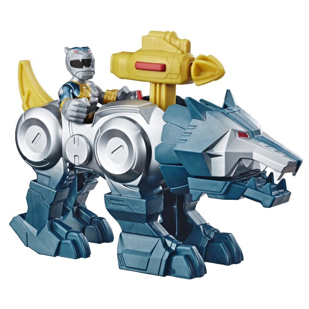 Playskool Heroes Power Rangers - Silver Ranger y Wolf Zord