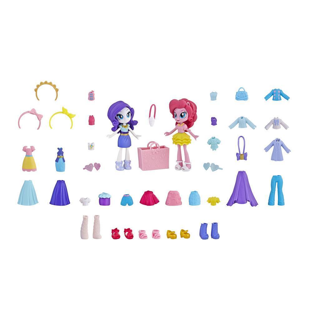 My Little Pony Equestria Girls Brigada de moda Rarity y Pinkie Pie Juego de minimuñecas con más de 40 accesorios