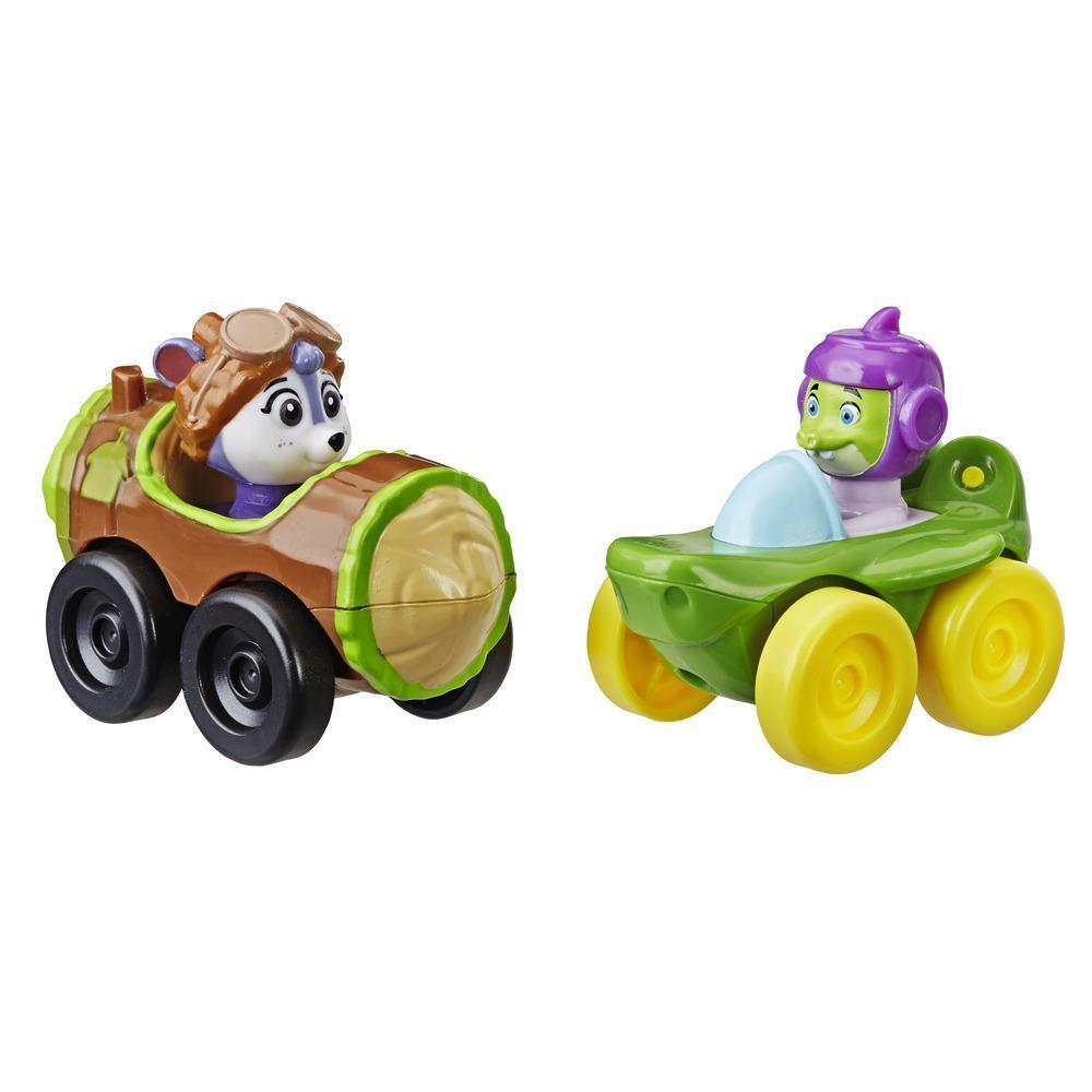 Top Wing - Paquete de 2 bólidos: Shirley Squirrely y Chomps del programa de Nick Jr., bólidos con figura integrada, gran juguete para niños entre 3 y 5 años