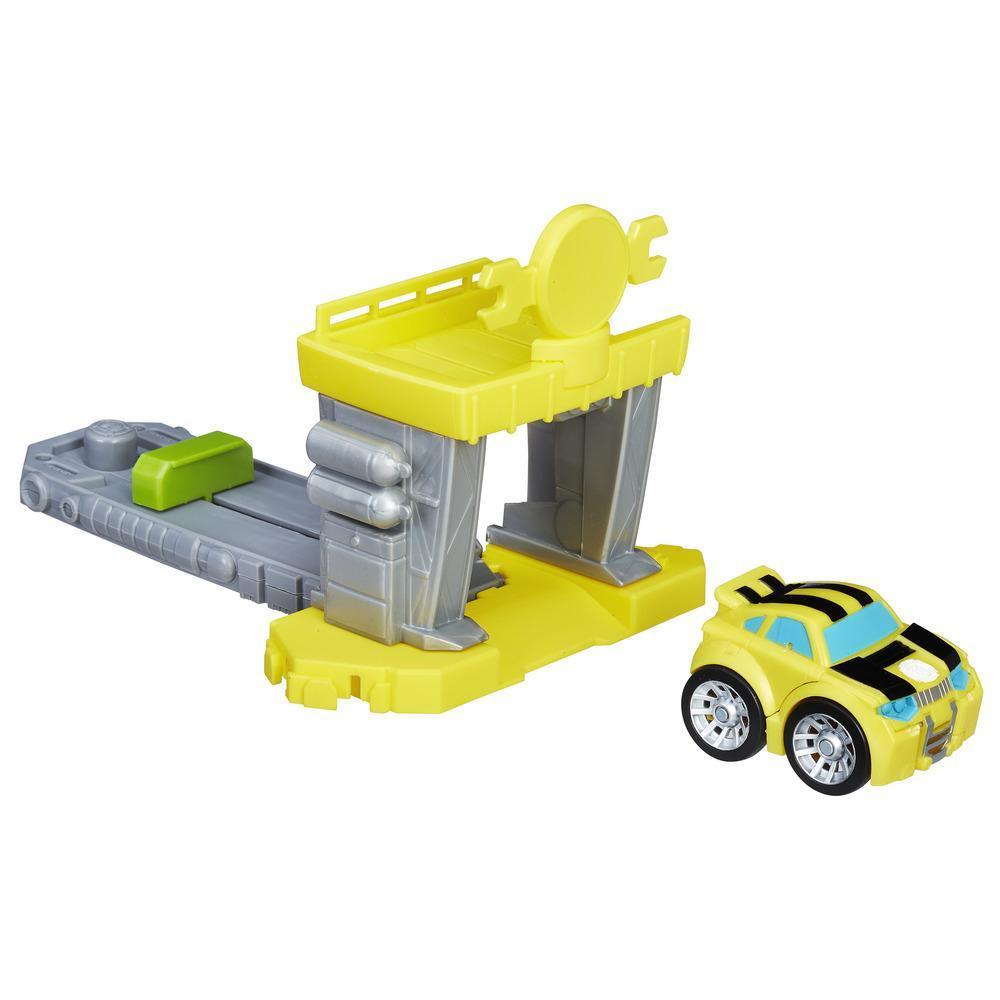 Playskool Heroes Transformers Rescue Bots Flip Racers - Garaje propulsor de Bumblebee