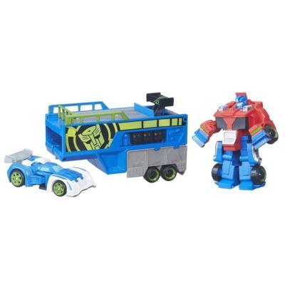 Playskool Heroes Transformers Rescue Bots - Remolque de carrera Optimus Prime