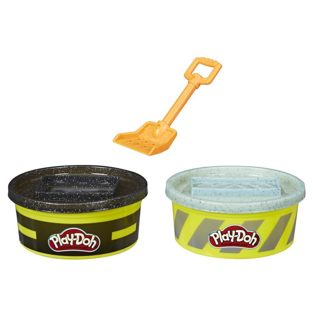 Play-Doh Wheels - Paquete de 2 latas de 224 g de masa de construcción para hacer cemento y pavimento