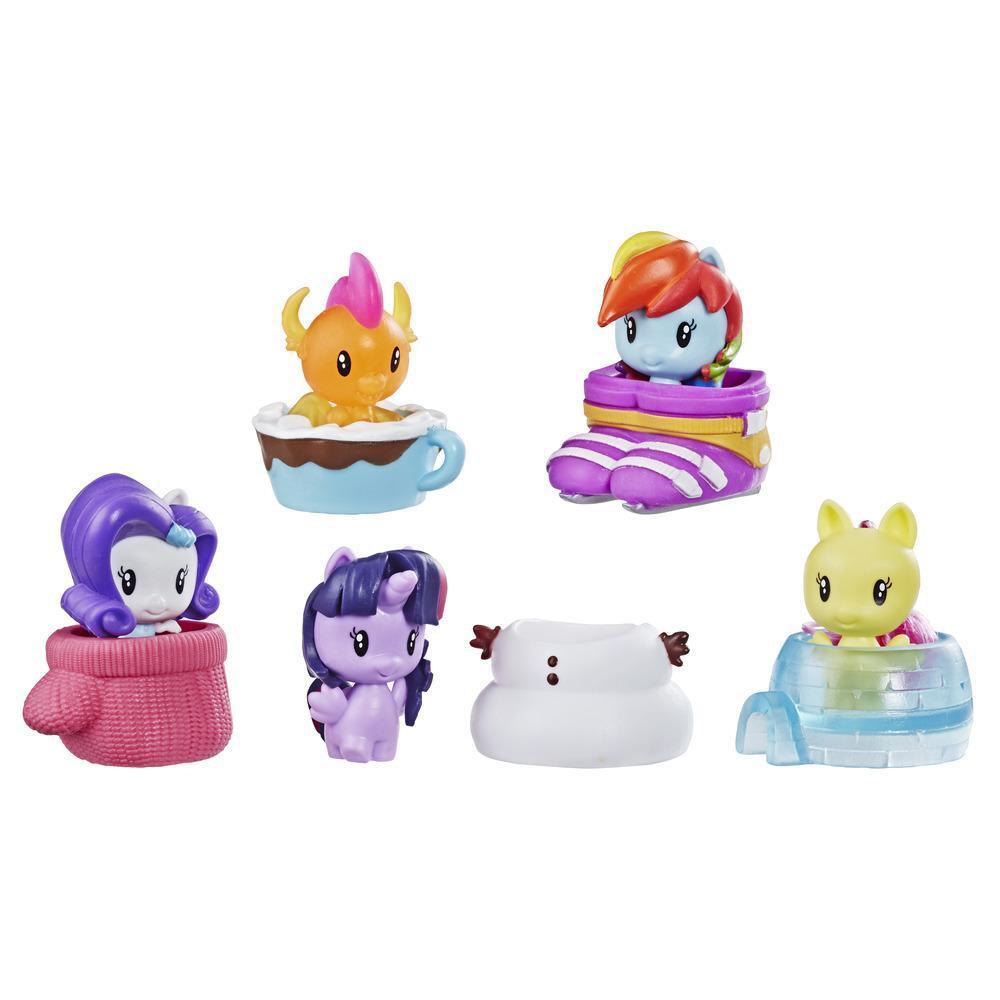 Juguetes My Little Pony Cutie Mark Crew - Serie 4 - Paquete sorpresa: Día nevado - Paquete de 5 figuras para coleccionar con 2 figuras misterio - Para niños de 4 años en adelante