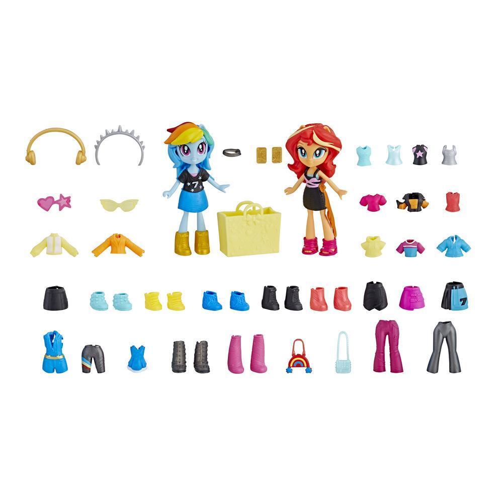 My Little Pony Equestria Girls Brigada de moda Rainbow Dash y Sunset Shimmer Juego de minimuñecas con más de 40 accesorios