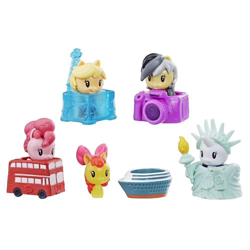 Juguetes My Little Pony Cutie Mark Crew - Serie 4 - Paquete sorpresa: Ponys turistas - Paquete de 5 figuras para coleccionar con 2 figuras misterio - Para niños de 4 años en adelante