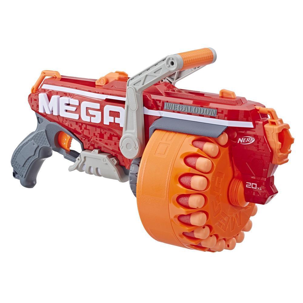 Lanzador de juguete Megalodon Nerf N-Strike Mega con 20 Mega dardos silbadores oficiales