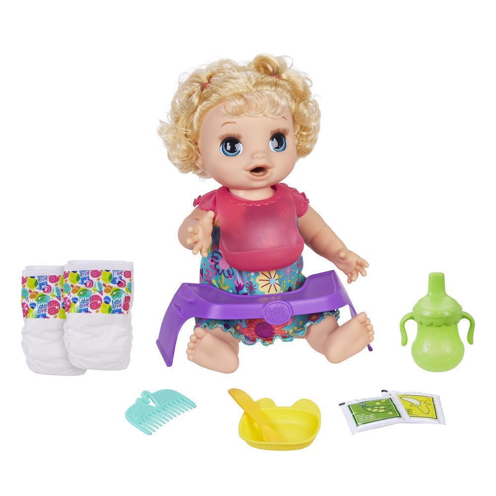 Baby Alive - Muñeca Bebé Come feliz con cabello rubio y  rizado