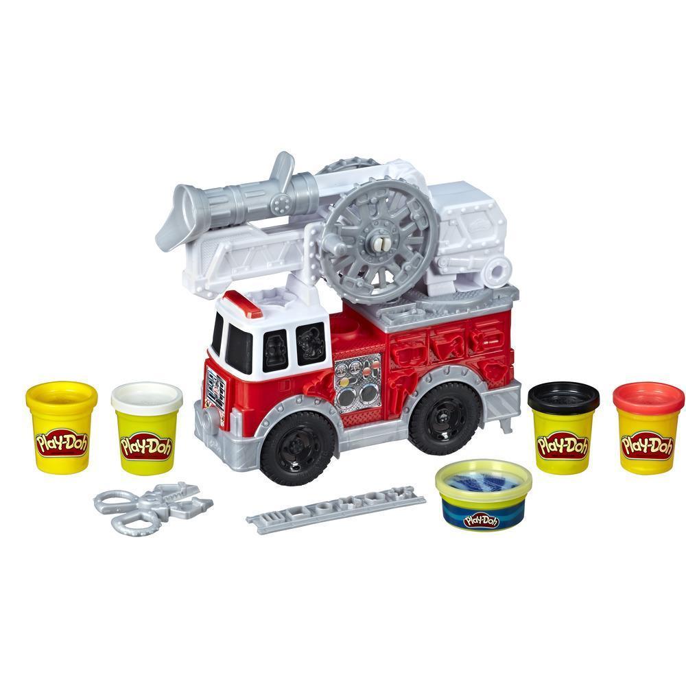 Play-Doh Wheels - Camión de bomberos de juguete con 5 colores no tóxicos