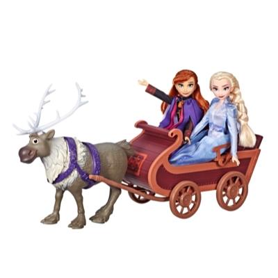 Disney Frozen - Sven y las hermanas en trineo - Muñecas de Elsa y Anna con figura de Sven y trineo