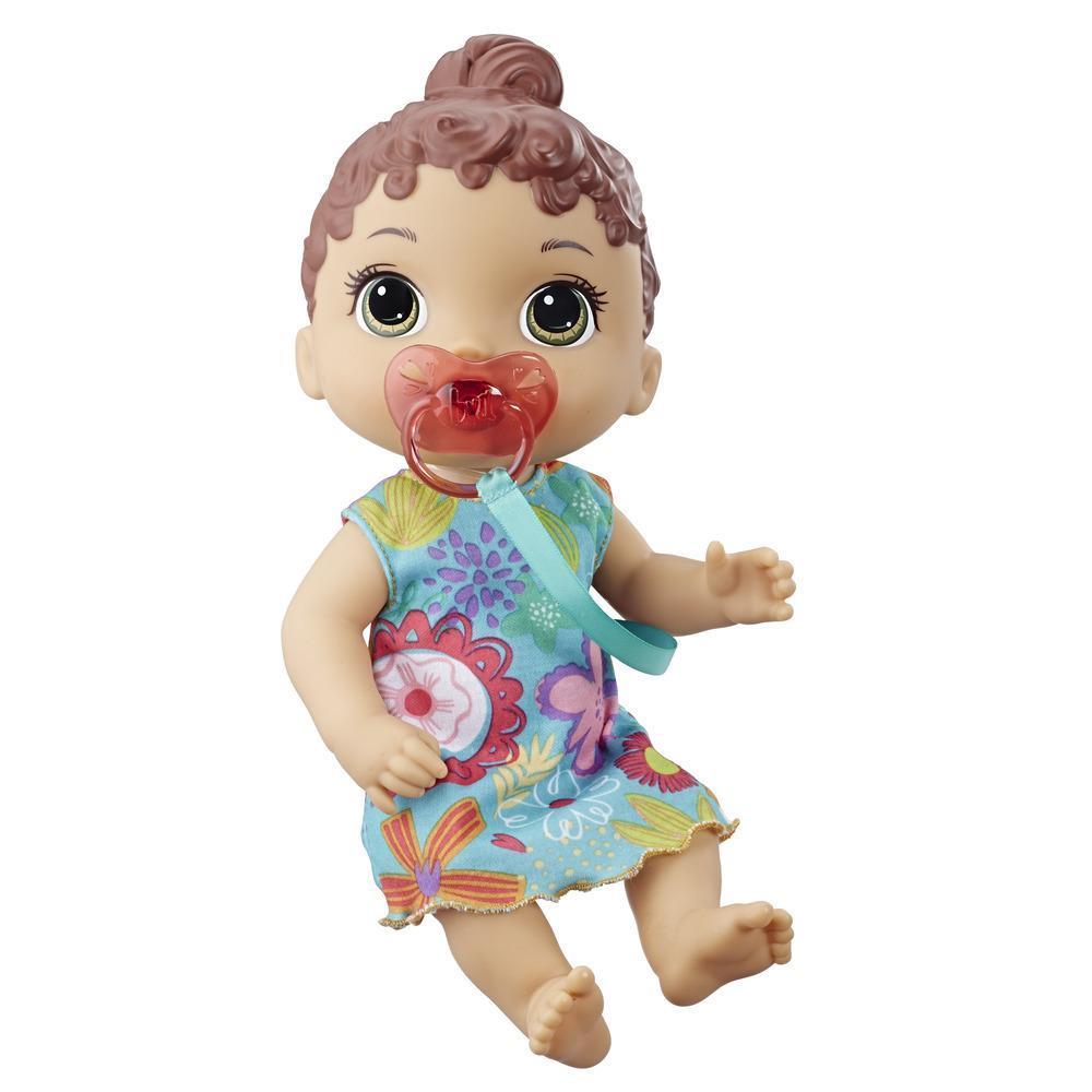 Baby Alive Bebé Soniditos: Muñeca bebé interactiva con pelo castaño, para niñas y niños de 3 años en adelante, 10 efectos de sonido, incluyendo risas y llanto - Muñeca bebé con chupón