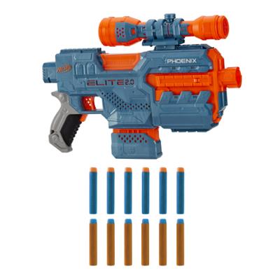 Lanzador motorizado Phoenix CS-6 de Nerf Elite 2.0, 12 dardos oficiales de Nerf, mira, clip, funciones de personalización incorporadas