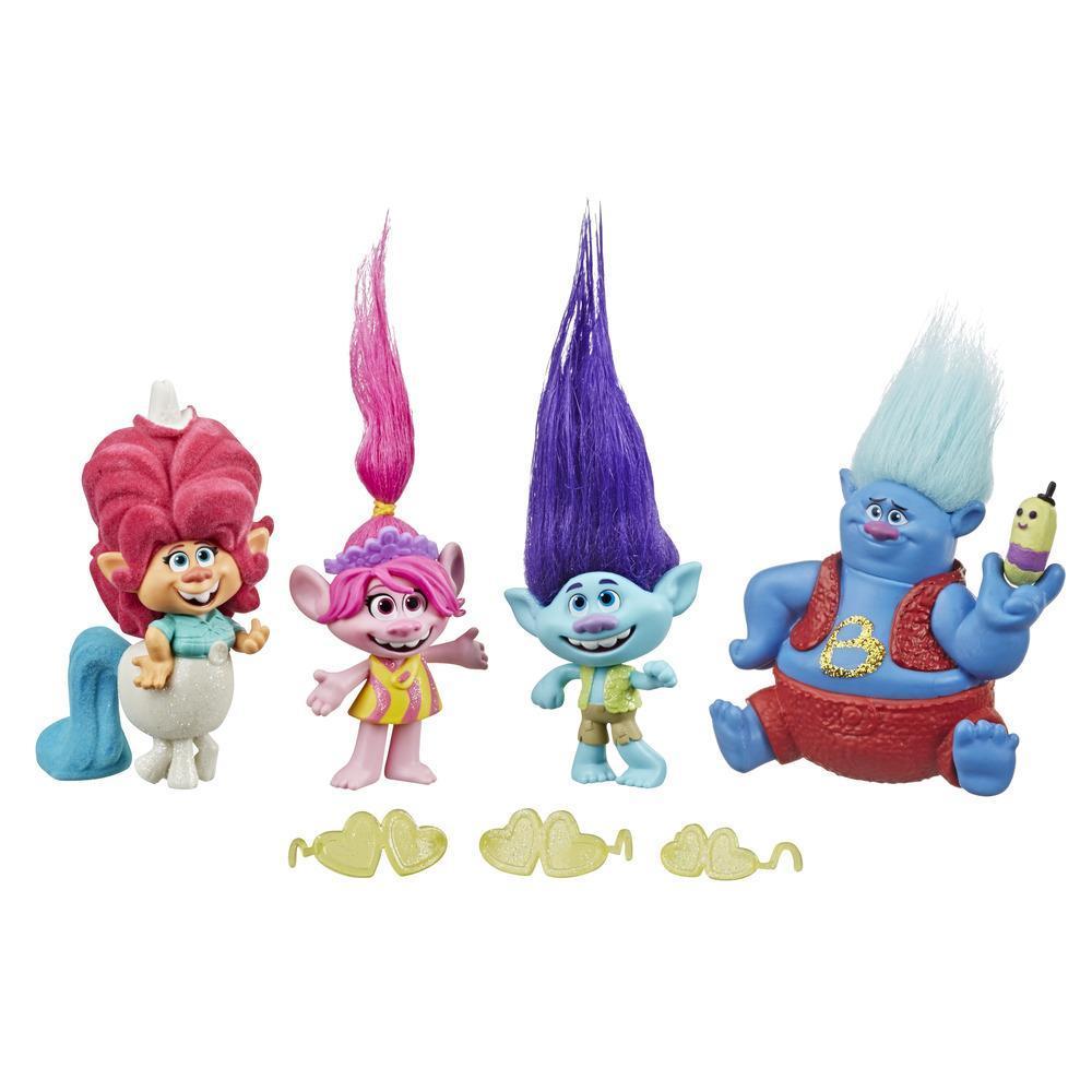 Pack Gira por Lonesome Flats de DreamWorks Trolls, set de 5 muñecos pequeños inspirados en la película Trolls 2: Gira Mundial