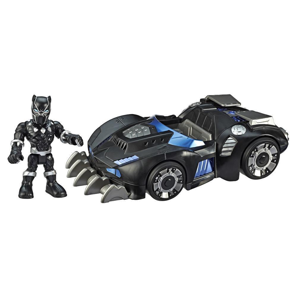 Black Panther Road Racer de Playskool Heroes Marvel Super Hero Adventures - Set de vehículo y figura de 12,5cm - Juguete coleccionable para niños a partir de 3 años