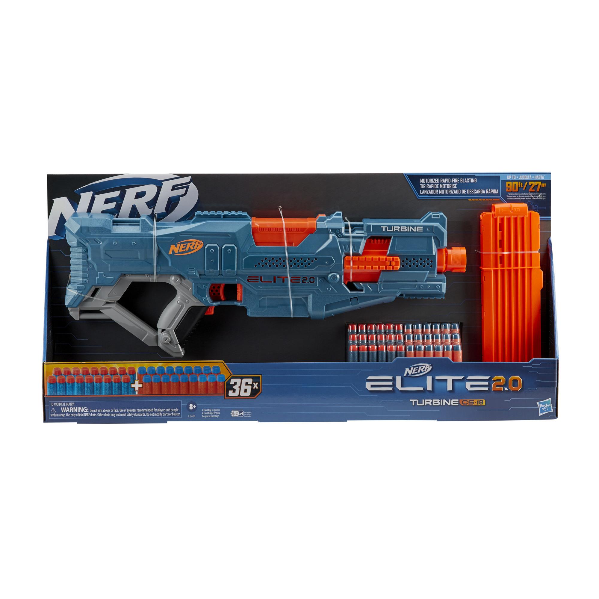 Lanzador motorizado Elite 2.0 Turbine CS-18 de Nerf, 36 dardos Nerf, clip de 18 dardos, funciones de personalización incorporadas