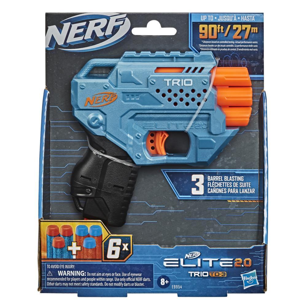 Lanzador Trio SD-3 de Nerf Elite 2.0, 6 dardos oficiales Nerf, lanzamiento desde 3 cañones, regleta táctica para funciones de personalización
