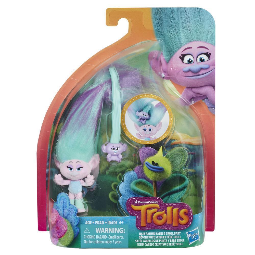 DreamWorks Trolls Satín Cabellos de punta y bebé Troll