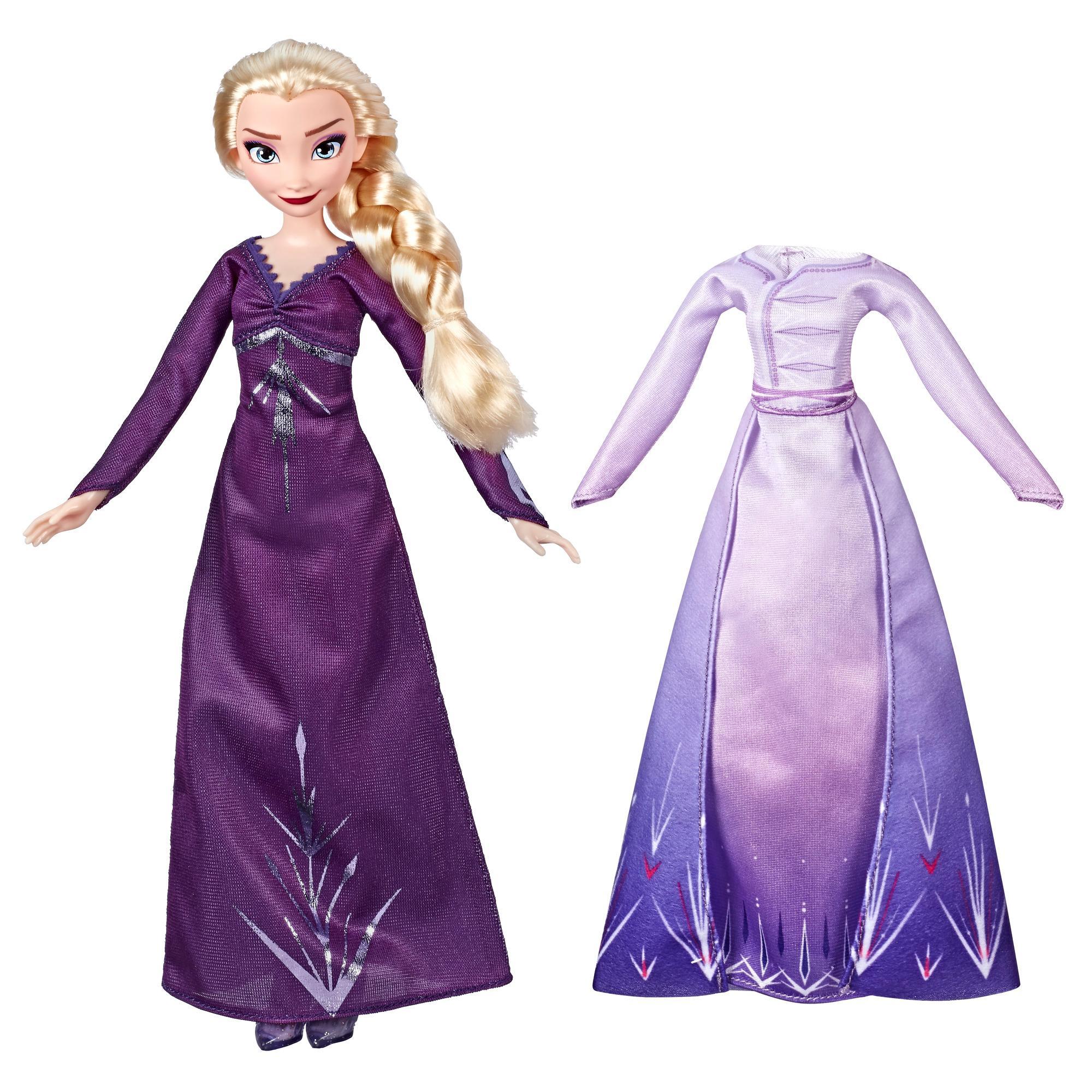 Disney Frozen - Elsa Modas de Arendelle - Muñeca con 2 vestimentas: camisón y vestido color púrpura, inspirada en la película Frozen 2 de Disney - Juguete para niños y niñas de 3 años en adelante