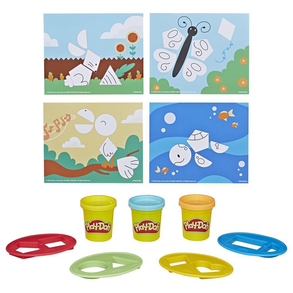 Play-Doh Academy Formas - Juego de actividades básicas para niños pequeños con 3 colores no tóxicos Play-Doh, para niños de 2 años en adelante