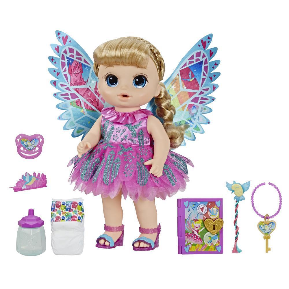 Baby Alive Once Upon A Baby: Hada Ani - Muñeca con cabello rubio y accesorios, que hace más de 15 sonidos, bebe y moja el pañal, para niños y niñas de 3 años en adelante