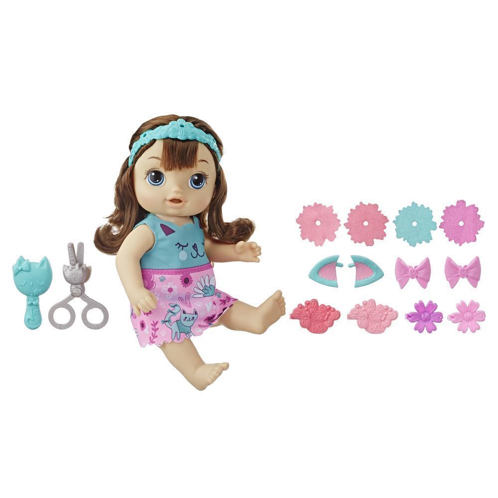 Baby Alive - Bebé peinado mágico - Muñeca con cabello castaño que habla y cuyo cabello crece y se acorta, para niños y niñas de 3 años en adelante