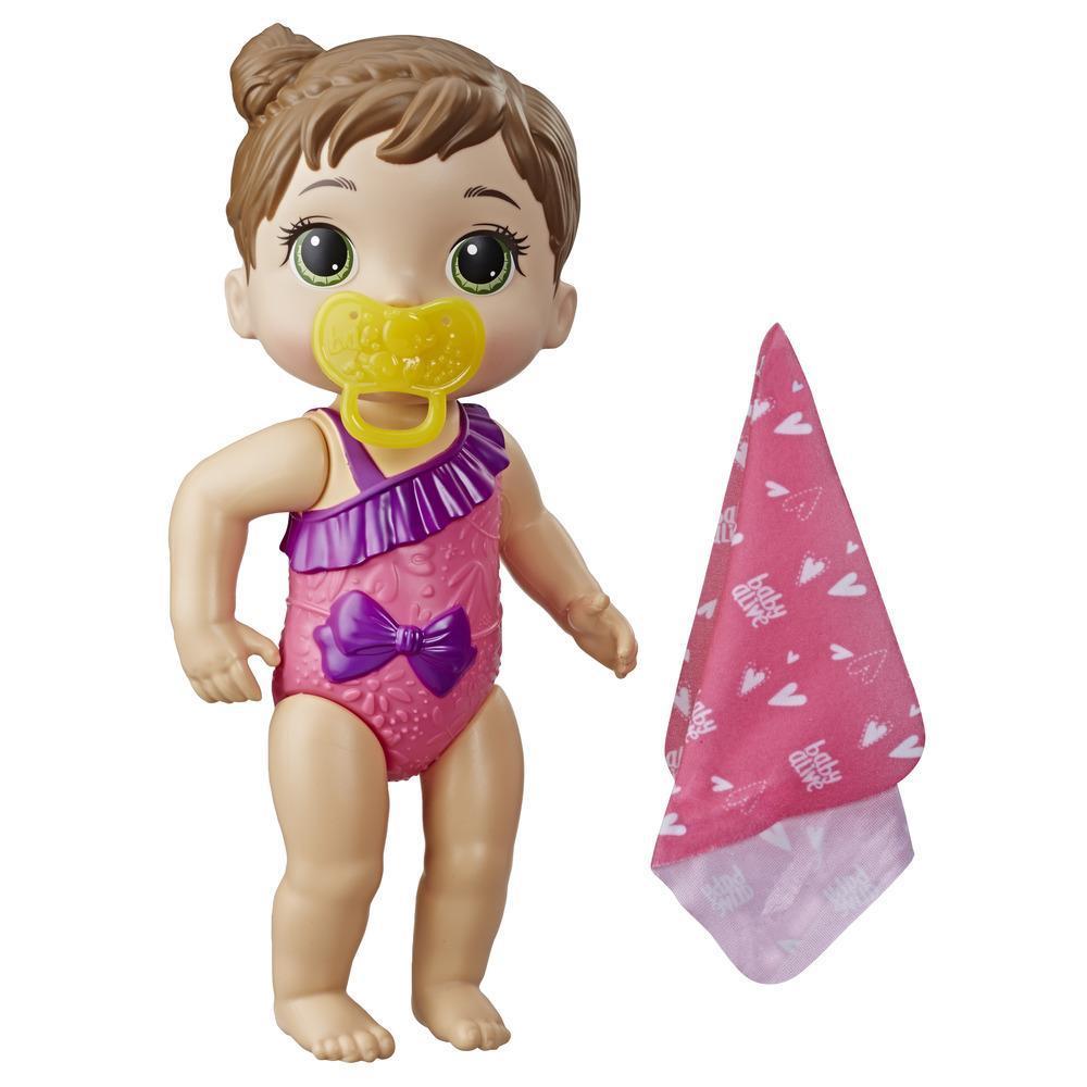 Baby Alive Bebé Chapoteos y abrazos - Muñeca con cabello rubio para juego acuático - Con toalla y chupón, juguete para niños y niñas de 3 años en adelante