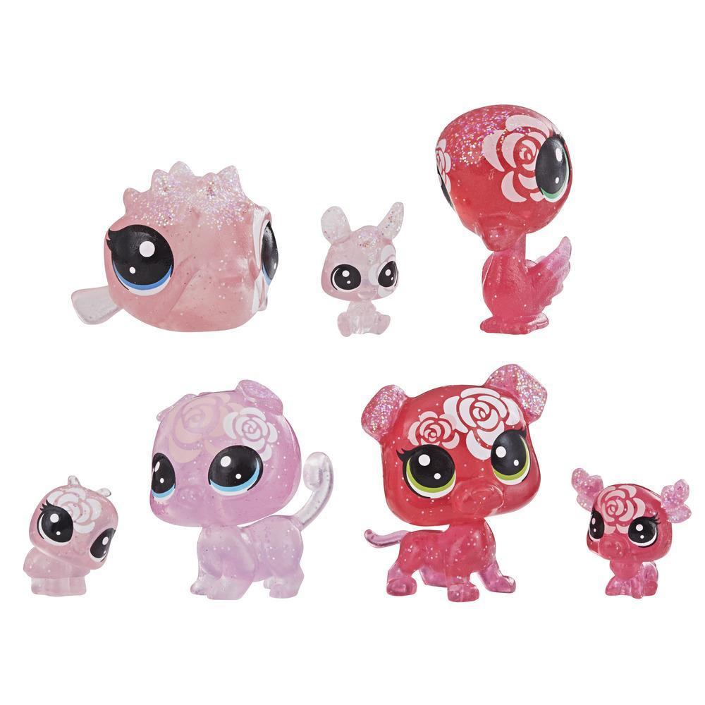 Littlest Pet Shop - Colección Rosas, 7 mascotas, parte de la colección Fiesta de Pétalos LPS