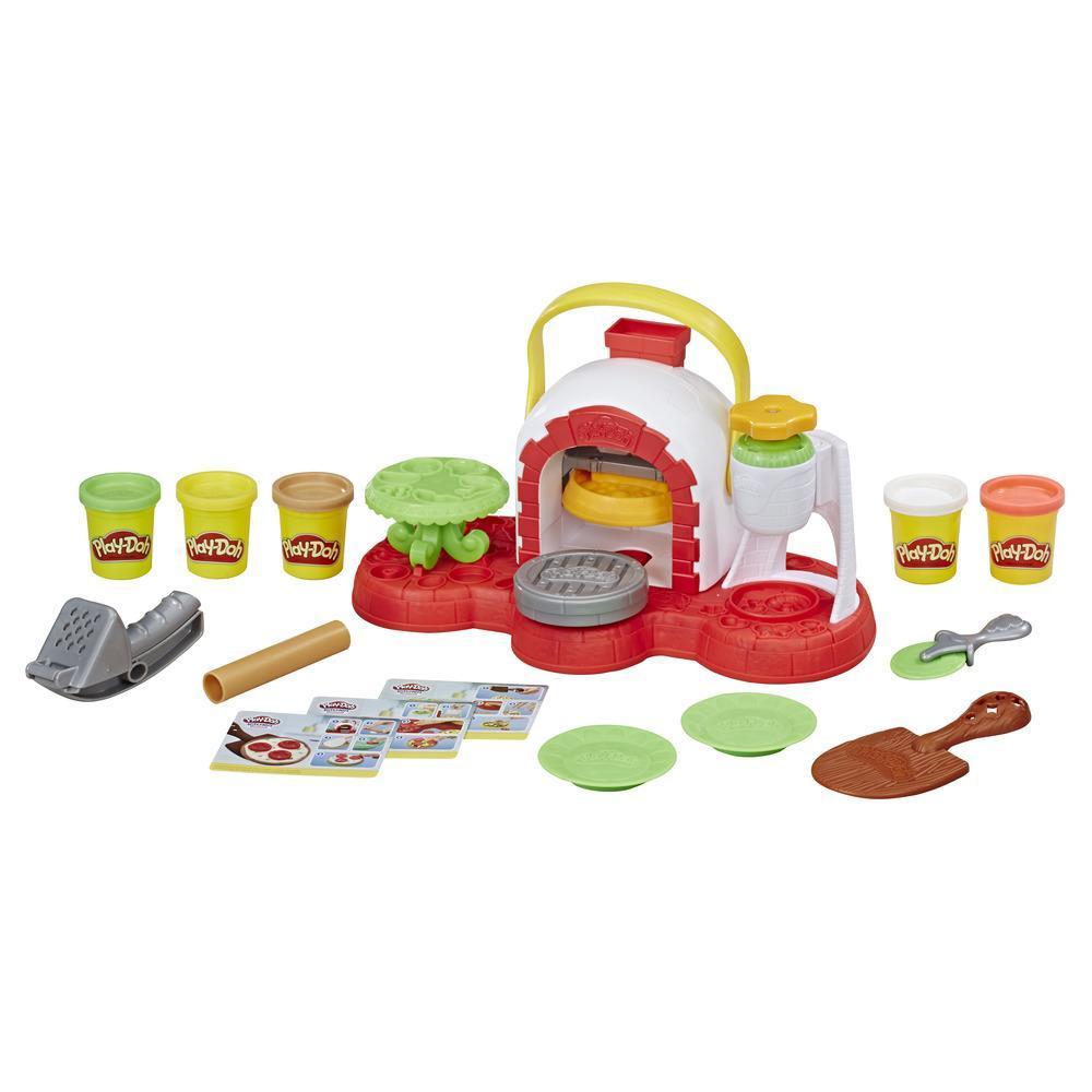 Play-Doh Horno para pizza - Horno de juguete y 5 colores Play-Doh no tóxicos